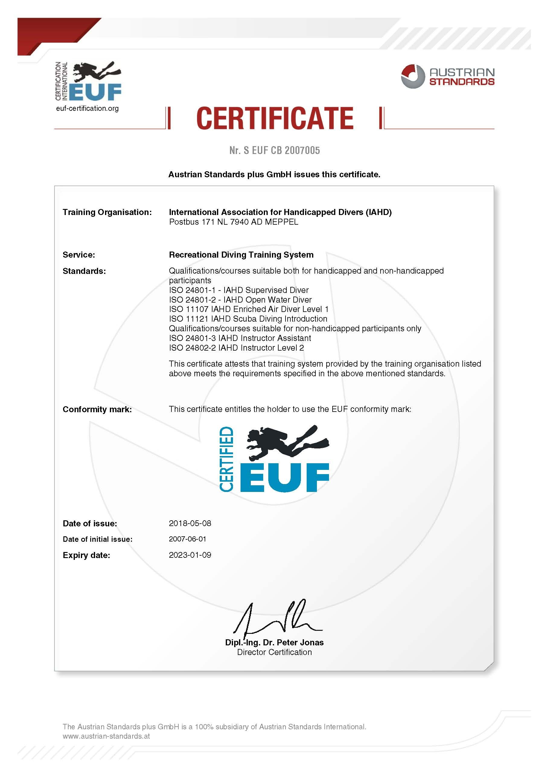 Certificate EUF 2018