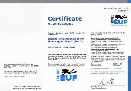ISO EUF certificate