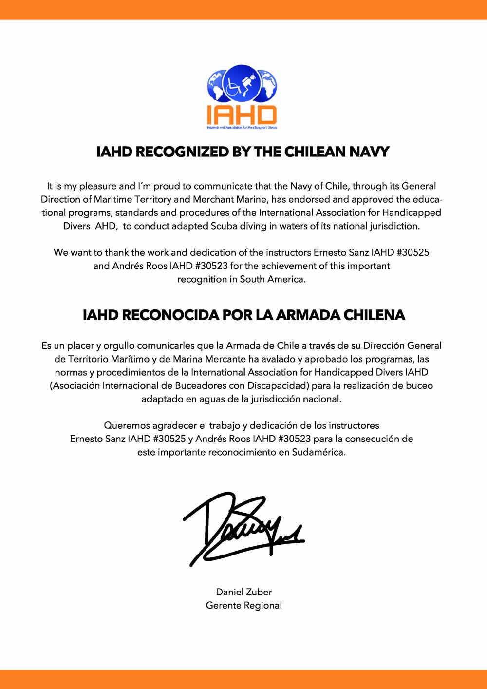 IAHD is recognised by the Chilean Navy